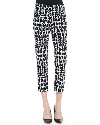 Cotton Button-Front Top & Stretch-Twill Printed Pants