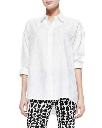 Cotton Button-Front Top, White
