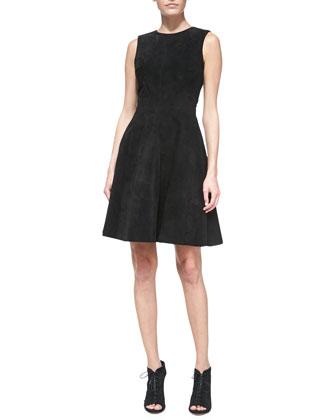 Suede Sleeveless Full-Skirt Dress