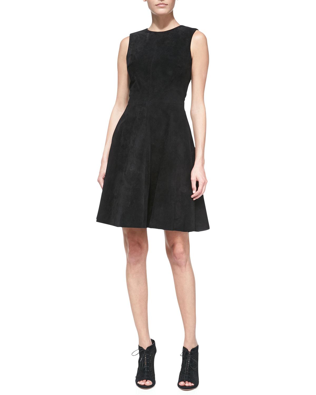 Womens Suede Sleeveless Full Skirt Dress   Monique Lhuillier   Black (8)