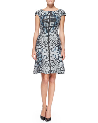 Cap-Sleeve Kaleidoscope Animal-Print Dress