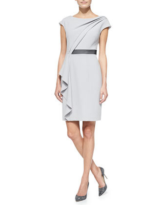 Short-Sleeve Asymmetric Draped Front Dress