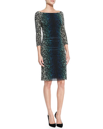 3/4-Sleeve Ruched-Side Leopard-Print Sheath Dress