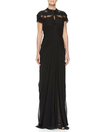 Bead Embroidered Gathered Gown, Noir, Women's
