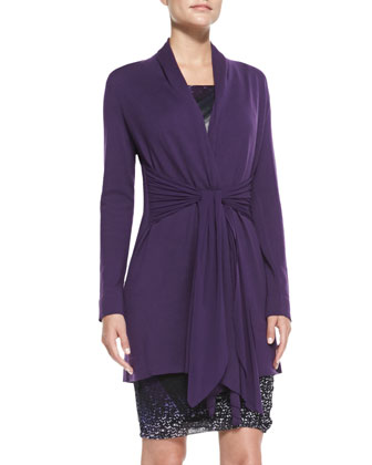 Long Drape-Front Cardigan with Tie, Dahlia