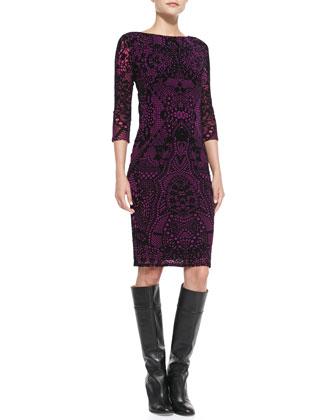 3/4-Sleeve Flocked Dress, Azalea