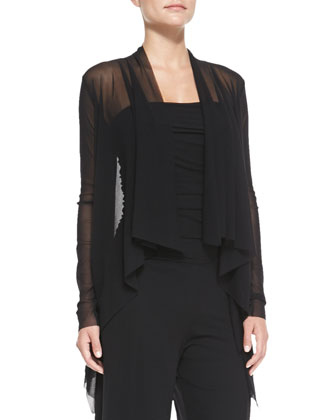 Long-Sleeve Drape-Front Cardigan, Black