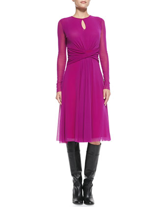 Long-Sleeve Belted Dress, Azalea