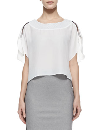 Marie Cape-Sleeve Eyelet Top & Devon Two-Tone Knit Pencil Skirt