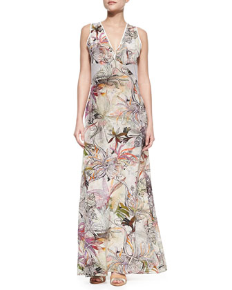 Isla Sleeveless Zipper Vest & Zoe Sleeveless Printed Silk Maxi Dress