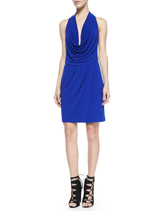 Drape-Front Colorblock Jersey Dress