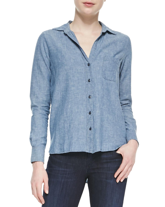 Womens Beach Glass Hope Long Sleeve Shirt   True Religion   Chambray (X SMALL)