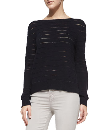 Ossie Sheer-Stripe Knit Sweater & 485 Luxe Sateen Skinny Jeans