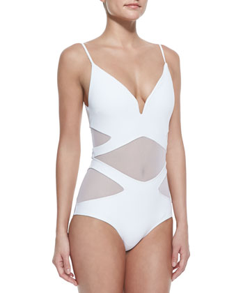 Georgia Bonded Plunge-Neck 1-Piece Swimsuit