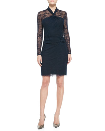 Long-Sleeve Lace Overlay Sheath Dress