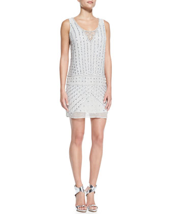 Sleeveless Beaded Drop-Waist Cocktail Dress