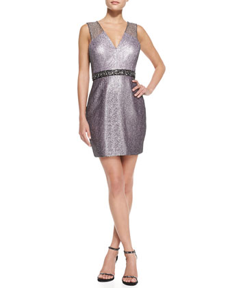 Sleeveless Beaded-Waist Cocktail Dress