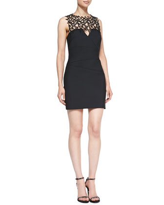 Sleeveless Lattice-Yoke Cocktail Dress