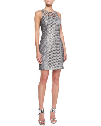 Sleeveless Net Overlay Cocktail Dress