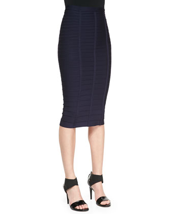Bandage Knit Pencil Skirt, Pacific Blue