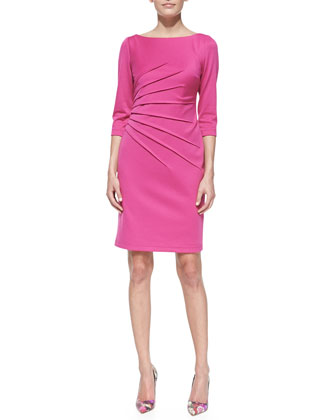 3/4-Sleeve Knit Sheath Dress, Pink
