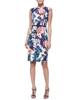Printed & Belted Cap-Sleeve Sheath Dress