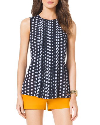 Pleated-Front Dotted Top