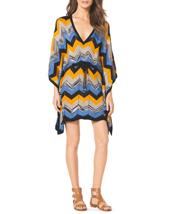 Drawstring Printed Poncho Dress
