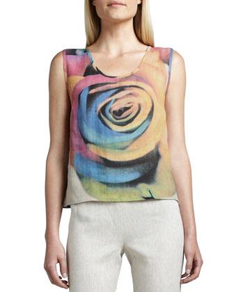 Big Flower Jacket, Shell & Tissue Linen Straight-Leg Pants, Women's