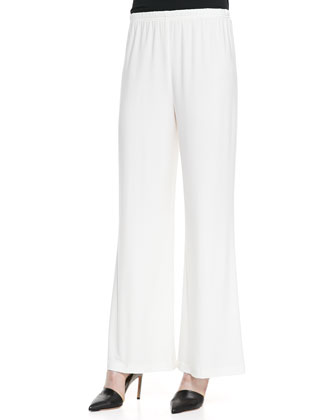 Stretch Knit Wide-Leg Pants, White