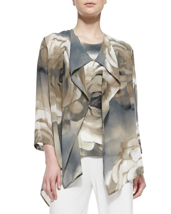 Draped Watercolor Rose-Print Jacket
