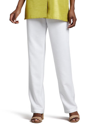 Shantung Straight-Leg Pants