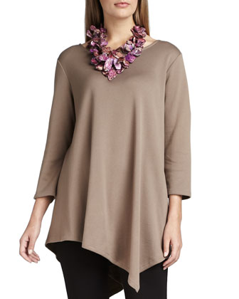 3/4-Sleeve Asymmetric Tunic & Cropped Leggings, Petite
