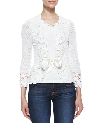 Crochet Satin-Tie Cardigan & Crochet-Trim Tank, Women's