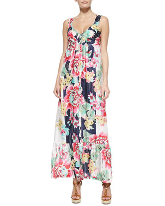 Sleeveless Floral-Print Button-Front Long Dress, Women's