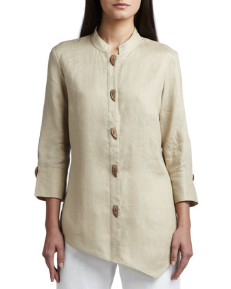 Asymmetric Linen Blouse & Straight-Leg Linen Pants, Women's
