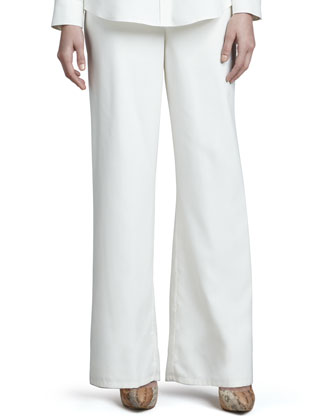 Safari Silk Shirt & Fuji Silk Full-Leg Pants, Petite