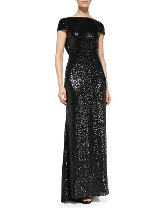 Cap-Sleeve Sequined Gown with Cowl Back
