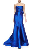 Strapless Pleated-Bodice Mermaid Gown
