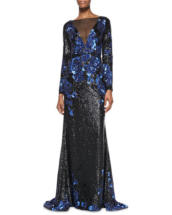 Long-Sleeve Plunge-Neck Illusion Sequined Gown