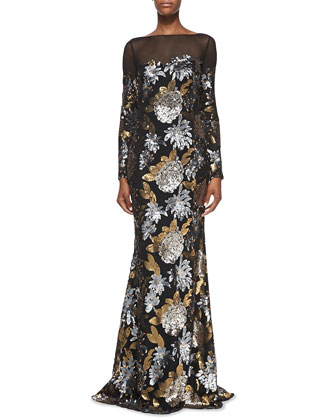 Long-Sleeve Floral Sequin Gown