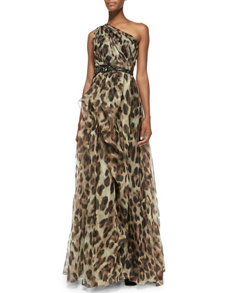 One-Shoulder Leopard-Print Gown