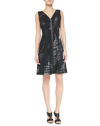 Lucine Sleeveless Front-Zip Dress