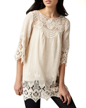 3/4-Sleeve Crochet Tunic, Women's