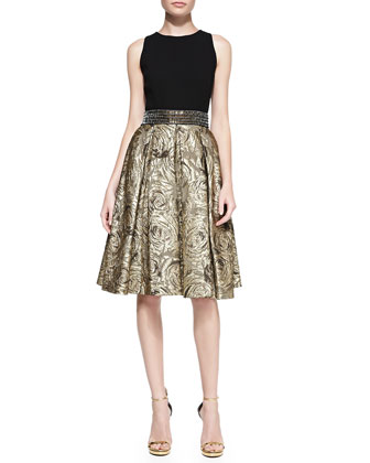 Sleeveless Belted Metallic Jacquard Cocktail Dress