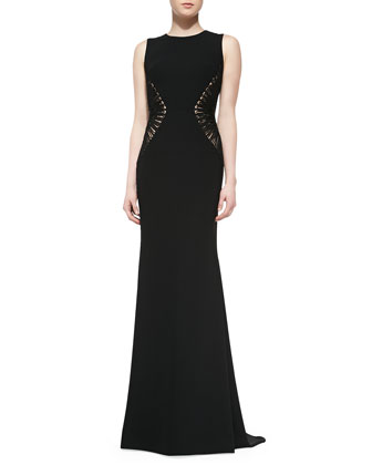 Sleeveless Textured-Side Gown