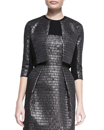 3/4-Sleeve Cropped Textured Jacket & Sleeveless Textured Cocktail Dress
