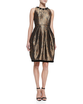 Sleeveless Beaded-Neck Cocktail Dress