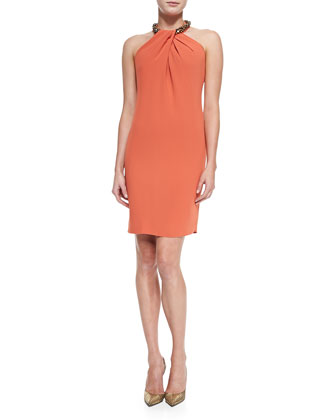 Halter Beaded-Neck Cocktail Dress, Orange