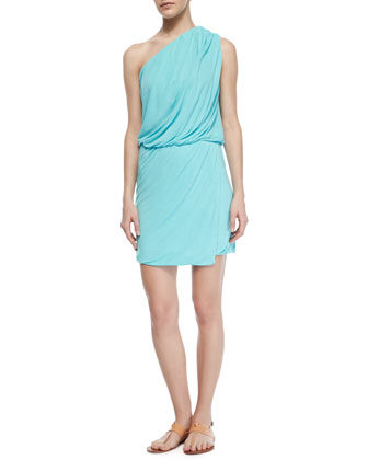 One-Shoulder Sway Dress, Aqua